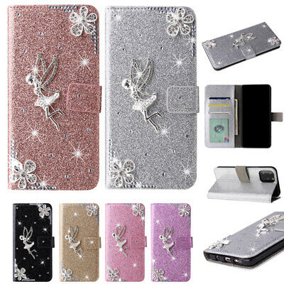 Case For IPhone 11 12 Pro XS Max XR 6 7 8 Plus 3D Bling Angel Wallet Phone Cover • 5.99£