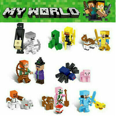 AU20 • Buy 16Pcs Minecraft Blocks Figures Fit Building Characters Lego World Mini My Series