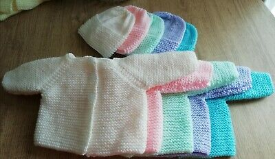 New Hand Knitted Cardigan And Hat For Newborn Baby • 7.50£