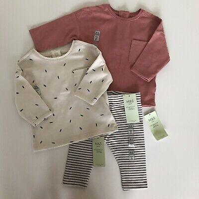 *Pretty Baby Girls M&S Organic Cotton Outfit 0-3 Months* Tops & Leggings • 6.95£