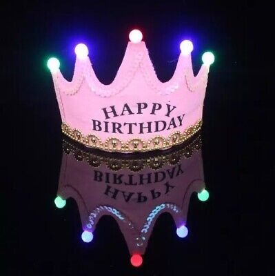 Happy Birthday LED Light Up Prince Crown Party Hat Pink • 3.99£