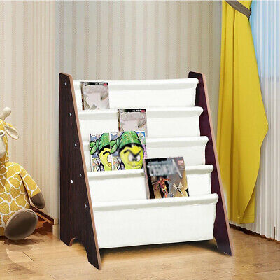 Wooden Kids Childrens Book Shelf Sling Storage Rack Organizer Bookcase Bookshelf • 18.99£