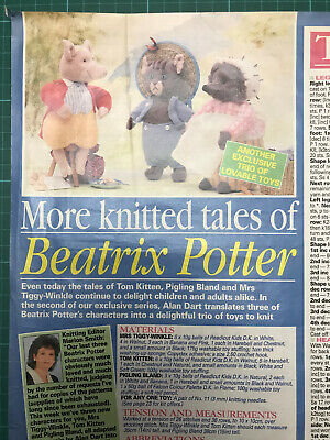 Alan Dart Beatrix Potter Knitting Pattern Tom Kitten, Pigling, Mrs Tiggy-Winkle • 25£