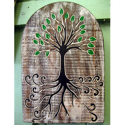 £12.99 • Buy WOODEN TREE OF LIFE WALL PLAQUE HANGING Sign Celtic PAGAN WICCAN WALL ART