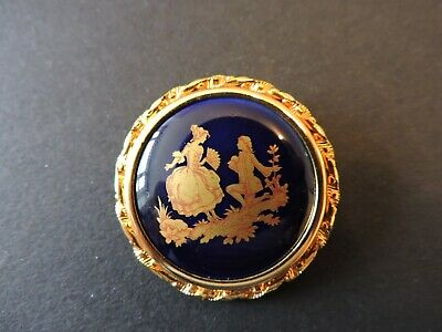 £15 • Buy Limoges? Vintage Porcelain Romantic Brooch, Blue And Yellow Gold