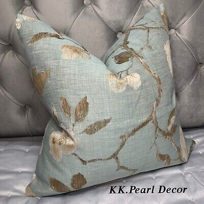"""Cushion Cover 18"""" John Lewis & Partners Fabric Linen Rose Duck Egg Taupe Decor • 10.99£"""