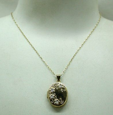 Pretty Two Colour 9ct Gold Floral Design Locket And Chain • 108.90£