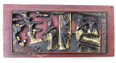 Antique 19th Century Chinese Carved Gilt Plaque Wood Furniture 10 X 4.5 Inches • 25£
