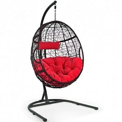 Hanging Cushioned Hammock Chair With Stand-Red • 383.94£