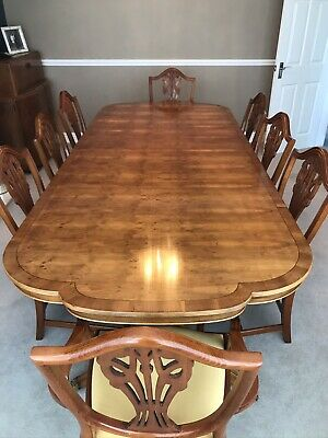 Harrods Burr Yew 10 Seater Dining Table And Chairs By Charles Barr 1934 • 2,000£