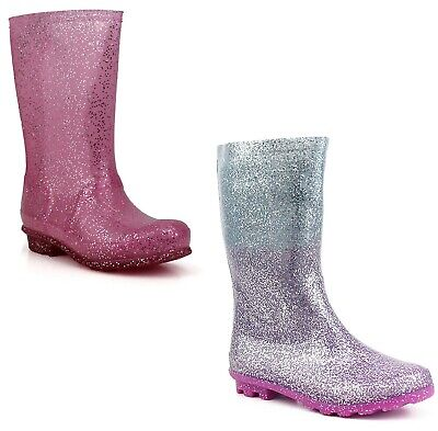 Kids Girls Flowers Wellies Waterproof Rain Youth Wellington Boots Size UK 12-5 • 7.90£