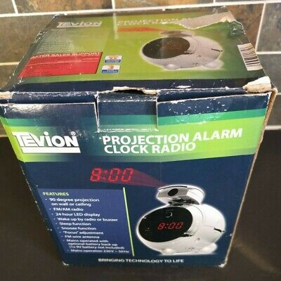 Tevion (Aldi) Projection Alarm Clock Radio – Silver – Mains With Battery Backup • 8£
