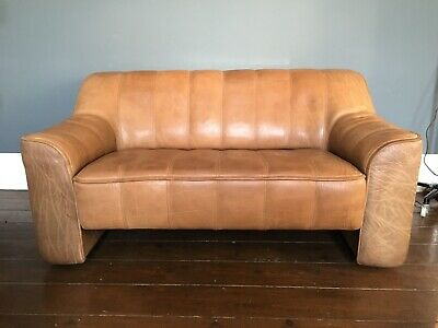 Fabulous Vintage Mid Century De Sede DS44 Brown Buffalo Leather Two Seater Sofa • 1,500£