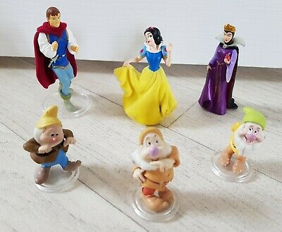 SNOW WHITE AND THE SEVEN DWARFS Figures PRINCE Evil Queen DISNEY Set FLOCKED • 9.99£