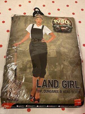 1940's Land Girl Costume Ladies WW2 Munitions Fancy Dress Army Outfit Womens • 5£