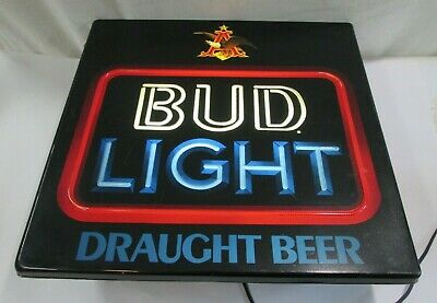 $ CDN7.19 • Buy Vintage Anheuser Busch Bud Light Beer Lighted Neon Style Beer Sign Kcs 801-016 1