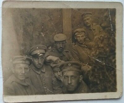 WW1 GERMAN SOLDIERS In Trenches CAPs Uniforms Cut Down Real Photo PC C1916 • 2.50£