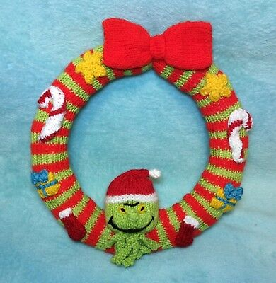 £2.99 • Buy KNITTING PATTERN - Christmas Grinch Inspired Wreath Hanging Decoration 22 Cms
