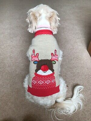 Dogs Pets At Home Christmas Reindeer Jumper Size S • 3.20£