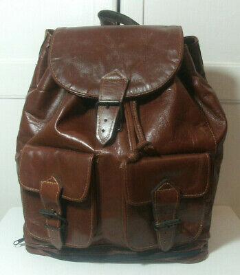 AU80.74 • Buy Vintage 80s Brown Leather Rucksack Backpack Boho Bag