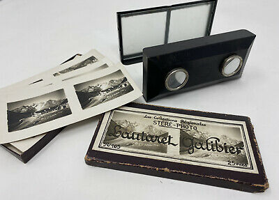 Folding Antique Stereoscope Unis France Stereo Viewer With 25 Plates • 100£