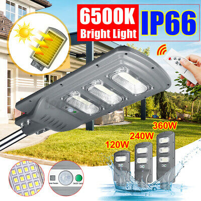 90/120/140/1500W Solar Street Light PIR Motion Garden Road Outdoor Lamp Remote • 32.78£