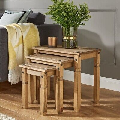 Corona Nest Of Tables 3 Mexican Solid Pine Side/End Tables By Mercers Furniture® • 94£