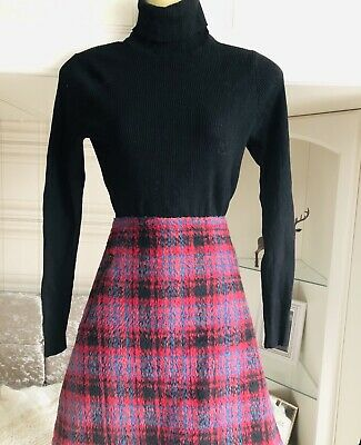 A Lined Wool Mix Lined  Knee Length Check Skirt Size 14 • 0.99£
