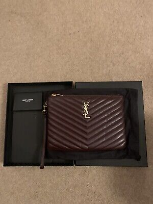 YSL Saint Laurent Monogram Oxblood Quilted Clutch Bag • 300£