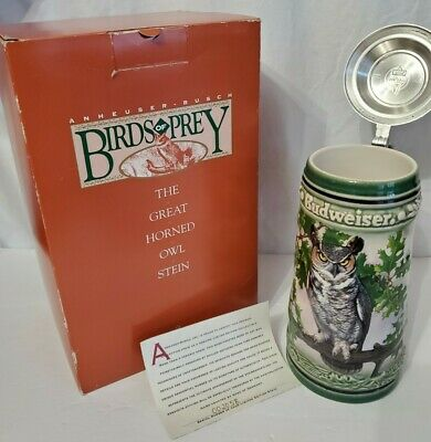 $ CDN85.09 • Buy 1994 BUDWEISER BIRDS OF PREY GREAT HORNED OWL BEER STEIN MIB W/ COA