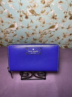 $ CDN23.17 • Buy Kate Spade Grove Street Neda Zip Around Wallet Clutch Electric Blue Leather