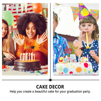24pcs 2021 Graduation Party Cake Toppers Paper Cupcake Toppers Cake Decorations • 4.03£