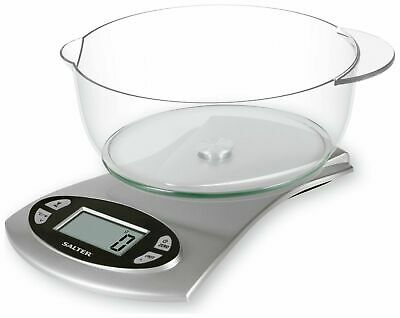 Salter LCD Digital Display Electronic Kitchen Scales & Bowl -Silver *Ex-Display* • 8.75£