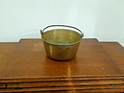 £25 • Buy Vintage Small Brass Jam/Preserving Pan Heavy Gauge With Iron Handle Weight 1.1kg