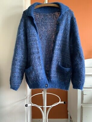 Hand Knitted Fluffy Mohair Cardigan Slouchy Style Collar Pockets Size M Blue • 35£