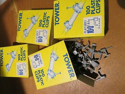 Tower 10mm Flat T&E Cable Clips - Grey - 3 X 100 = 300 + 87 'Free' • 18£