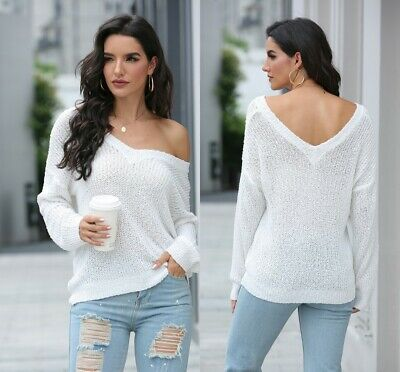 New Fashion Off The Shoulder V-neck Autumn Sweater For Women Jumper Female Top • 12.88£