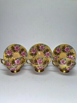 Vintage Aynsley Cups And Saucers; #1026; Gold Gilt; Pink Cabbage Rose; Rare • 149.99£