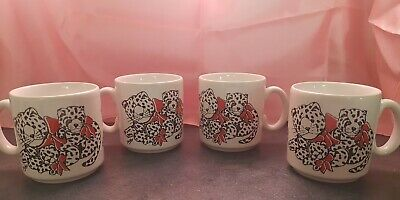 £5 • Buy 80s 90s Coffee Cups Spotty Cats Cheetahs Cute Kitch Sold In Pairs (2 Available)