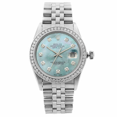 $ CDN8470.80 • Buy Rolex Datejust Steel Custom Diamonds Turquoise Dial Automatic Mens Watch 16014