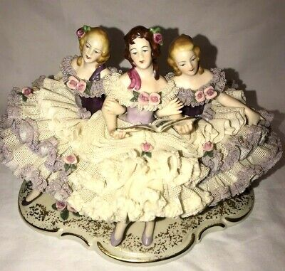 $ CDN407.29 • Buy Dresden Lace Porcelain Figurine 3 Ladies Singing Music Notes Germany 6 X 9