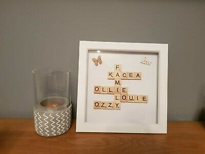 Scrabble Picture Box Frame Word Art Personalised Family Name & Heart • 15.95£