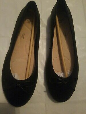 Evans Black Wide Fit  Black Leather Lined Shoes BNWOB UK Size  6 Rrp £20 • 10£