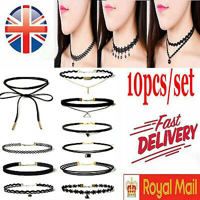 New Leather Lace Choker Charm Necklace Vintage Chocker Punk Retro Black Collar • 1.74£