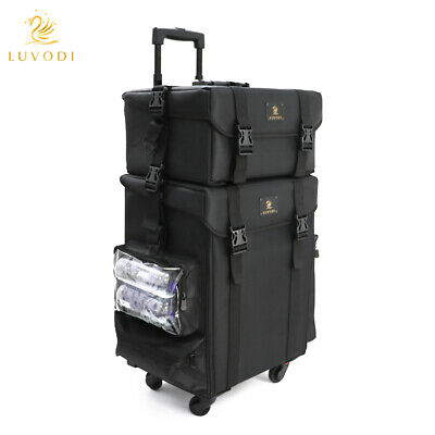 Extra Large Rolling Makeup Artist Travel Case Soft Sided Nylon Organizer Trolley • 109.99£