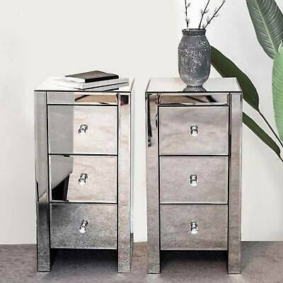 £159.99 • Buy 2PCS Glass Mirrored Bedside Tables Crystal Bedroom Side Drawer Storage Cabinet