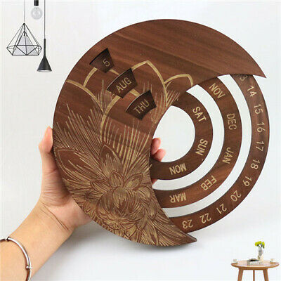 £12.97 • Buy Calendar Wooden Everlasting Perpetual Wall Hanging Crafts Valentine's Gift Decor