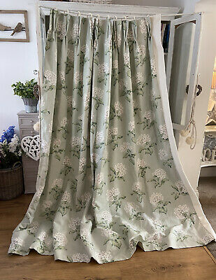 LAURA ASHLEY Heligan Hydrangea Floral Duck Egg Eau De Nil INTERLINED Curtain • 41£