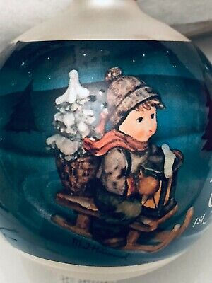 """$17.95 • Buy Vintage M.J. Hummel Glass Ornament  """"Ride Into Christmas"""", First Edition, 1983"""