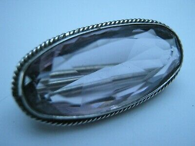 Antique Victorian Solid Silver Pale Amethyst Lace Pin Brooch • 22£